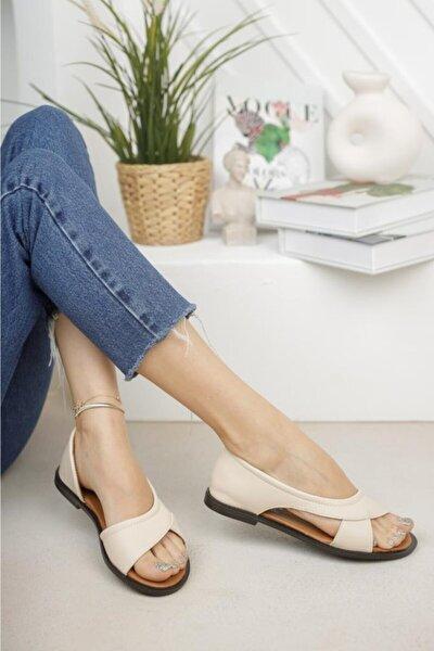 Kadın Krem Açık Sandalet Yazlık Ayakkabı Babet