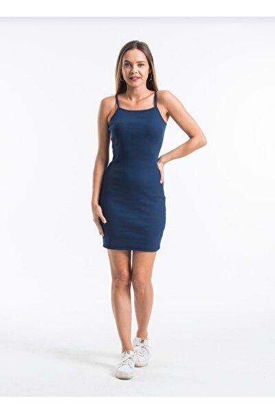 Kadın Lacivert Giyim Ip Askılı Kaşkorse Kumaş Mini Elbise