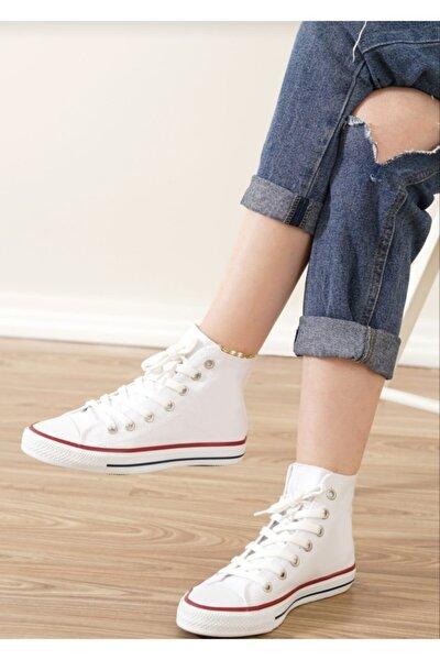 Unısex Beyaz Uzun  Spor Ayakkabı