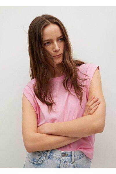 Kadın Fuşya Pili Detaylı Tişört
