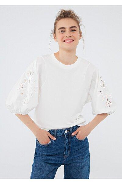 Nakışlı Beyaz Tişört 1600998-34519