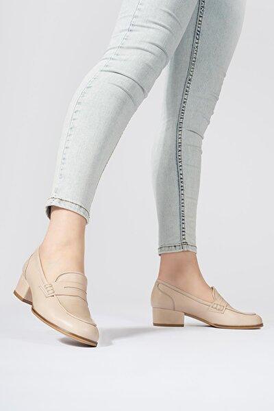 Kadın Hakiki Deri Topuklu Loafer Yuvarlak Burun Ayakkabı
