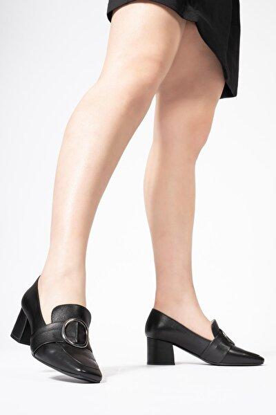 Kadın Siyah Hakiki Deri Günlük Topuklu Loafer  Ayakkabı