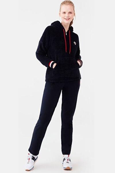 Kadın Lacivert Polar Kapşonlu Üst Pamuklu Alt Pijama Takım
