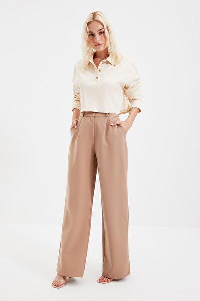 Kahverengi Bol Paça Plili Pantolon TWOAW21PL0076