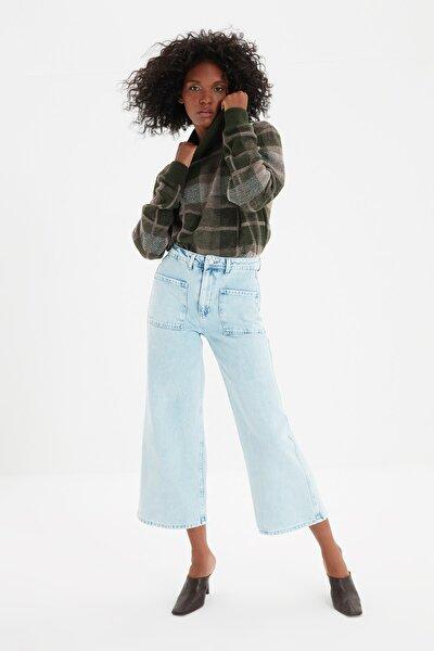 Mavi Cep Detaylı Yüksek Bel Culotte Jeans TWOSS21JE0486