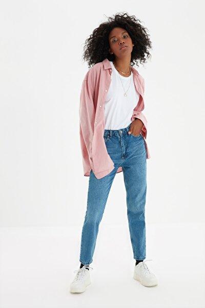 Indigo Yıkamalı  Yüksek Bel Mom Jeans TWOSS20JE0099