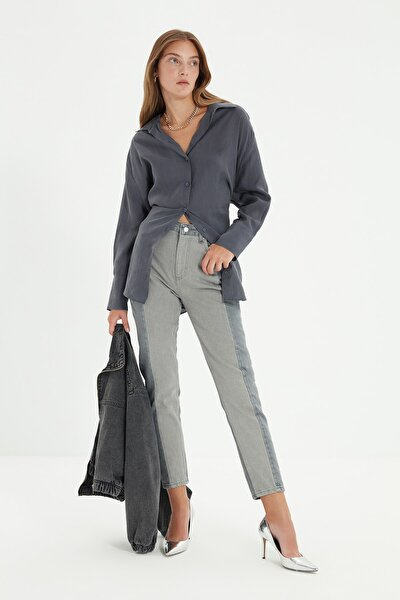 Antrasit Renk Bloklu Yüksek Bel Mom Jeans TWOSS20JE0080