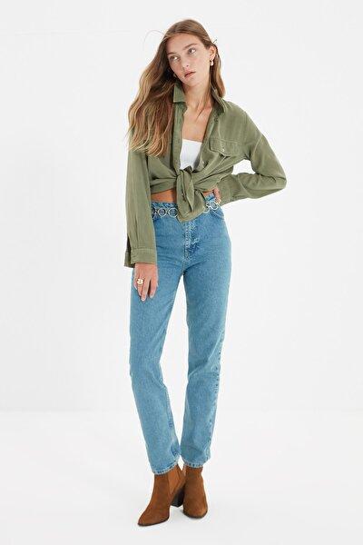 Mavi Yüksek Bel Uzun Dar Straight Jeans TWOSS21JE0085