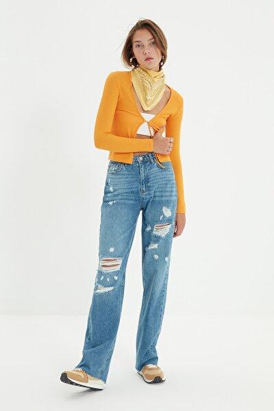 Mavi Yırtık Detaylı Yüksek Bel Wide Leg Jeans TWOSS21JE0753