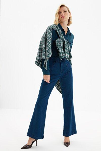 Lacivert Dikiş Detaylı Süper Yüksek Bel  Wide Leg Jeans TWOSS20JE0015