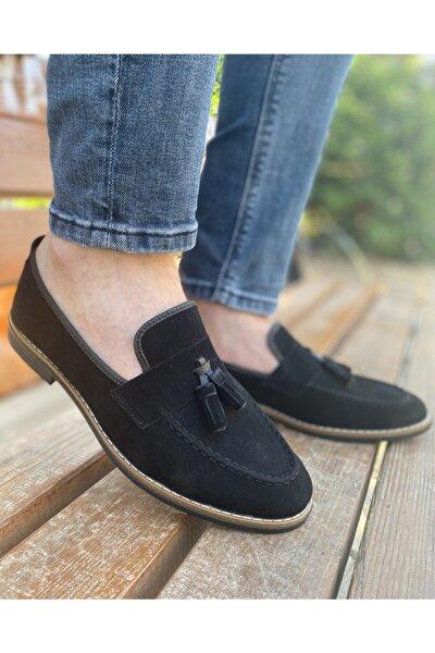 Erkek Siyah Günlük Püsküllü Suet Klasik Ayakkabı