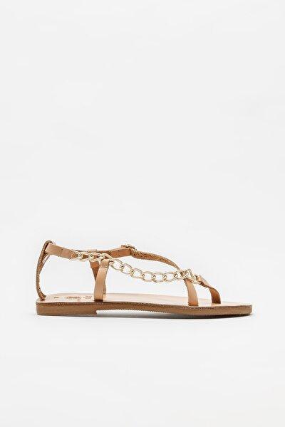 Naturel Deri Kadın Parmakarası Sandalet