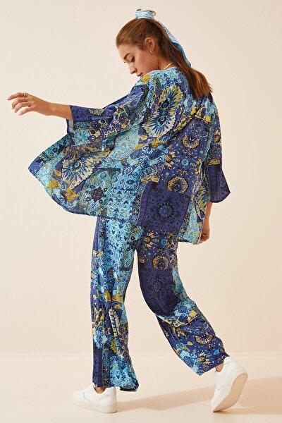 Kadın Mavi Desenli Viskon Ceket Pantolon EN00501