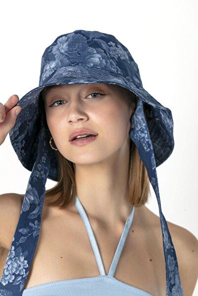 14117 Ipli Çiçek Desenli Mavi Bucket Şapka