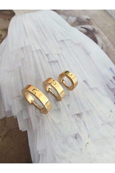Kadın  Çelik 3 Lü Gold Renk Cartier Küpe Seti
