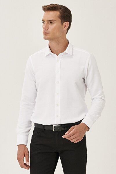 Erkek Beyaz Tailored Slim Fit Dar Kesim Klasik Gömlek Yaka Armürlü Gömlek