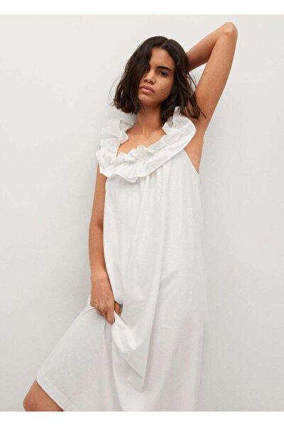 Kadın Beyaz Fırfırlı Koton Elbise