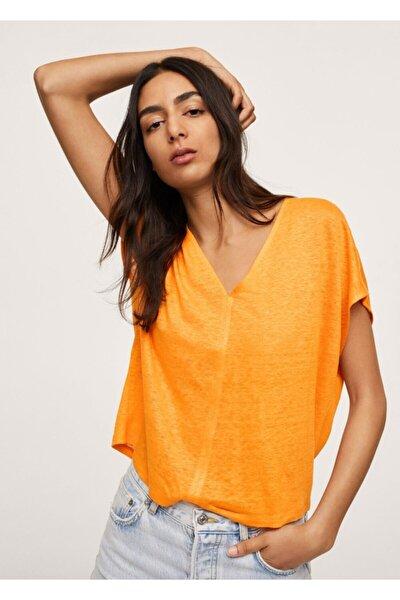 Kadın Turuncu %100 Keten Tişört