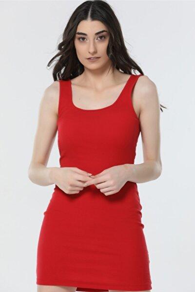 Kadın Giyim Kalın Askılı Kaşkorse Kumaş Mini Elbise