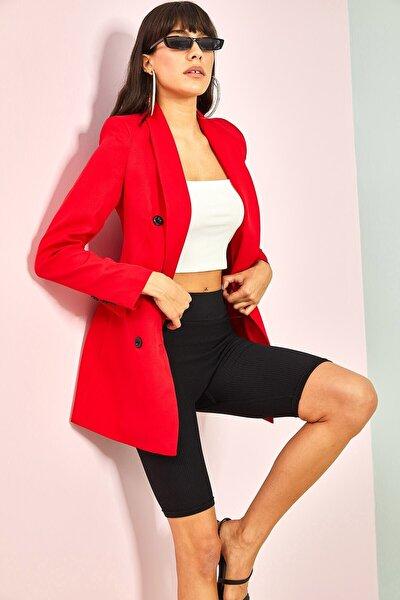 Kadın Vatkalı Düğmeli Blazer Ceket Kırmızı