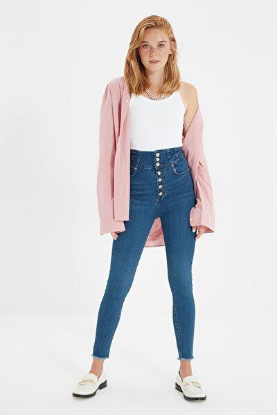 Mavi Önden Düğmeli Süper Yüksek Bel Skinny Jeans TWOAW22JE0170