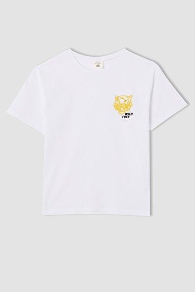Erkek Çocuk Relax Ft Kaplan Baskılı Kısa Kollu Tişört V5730A621HSW