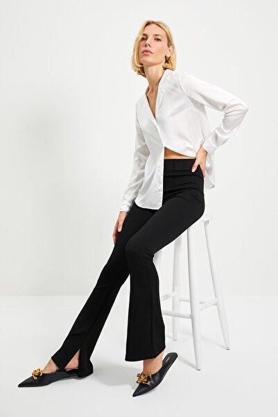 Siyah Flare Örme Pantolon TWOAW22PL0184