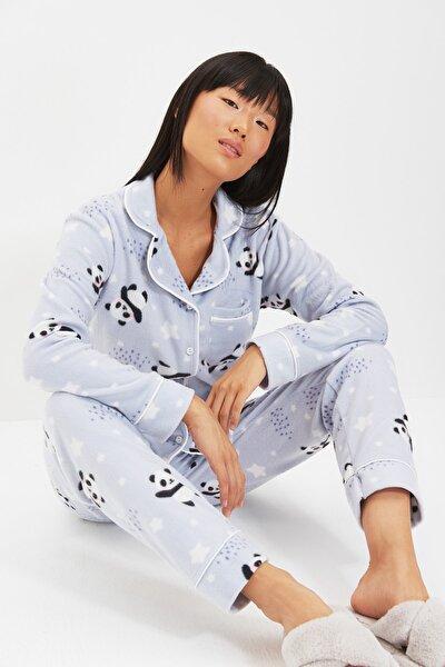 Mavi Panda Desenli Örme Pijama Takımı THMAW22PT0359