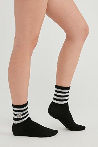 Kadın Siyah Cool Awesome Daısy Soket Çorap
