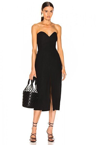 Kadın Önden Yırtmaçlı Straplez Elbise 4537821