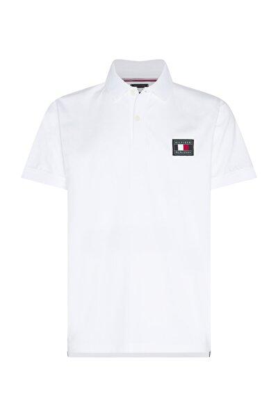 Erkek Beyaz Polo Yaka T-Shirt Th Flex icon Badge Regular Polo MW0MW15217