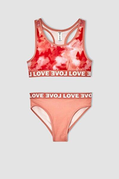 Kız Çocuk Batik Desenli Esnek Bikini Takımı V7843A621HSO