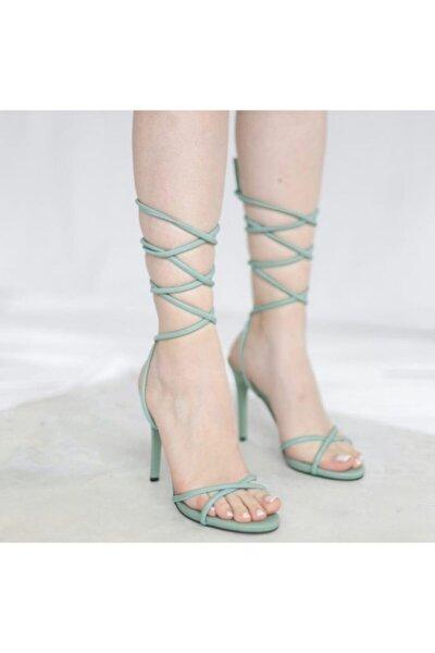 Kadın Mint Yeşil Ince Tek Bant Topuk Sandalet Ayakkabı Bilekten Bağcıklı Yüksek Sivri Abiye