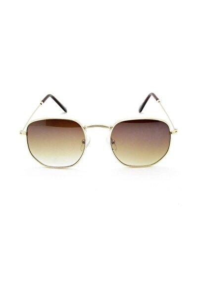 Unisex Kahverengi Gold Beşgen Altın Vintage Güneş Gözlüğü