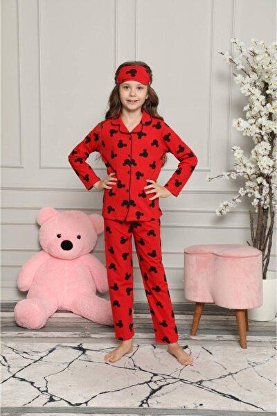 Kız Çocuk Uzun Kol Mickey Desenli Kırmızı Renk Pijama Takımı Göz Bandı Hediyemizdir Yeni Sezon