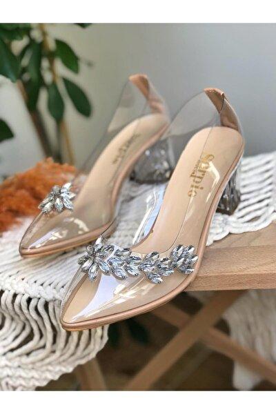 Kadın Nude Taş Detaylı Şeffaf Topuklu Ayakkabı