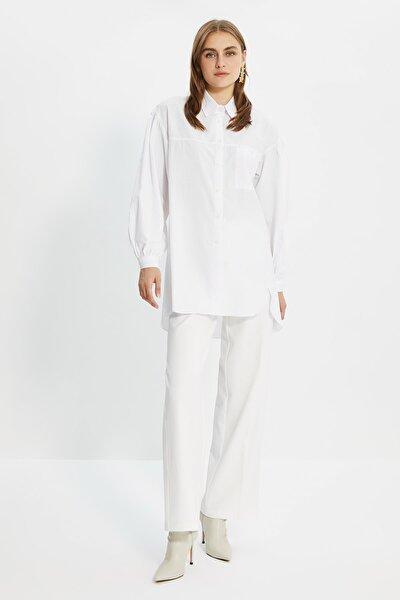 Beyaz Balon Kol Gömlek Yaka Tesettür Tunik TCTSS21GO0976