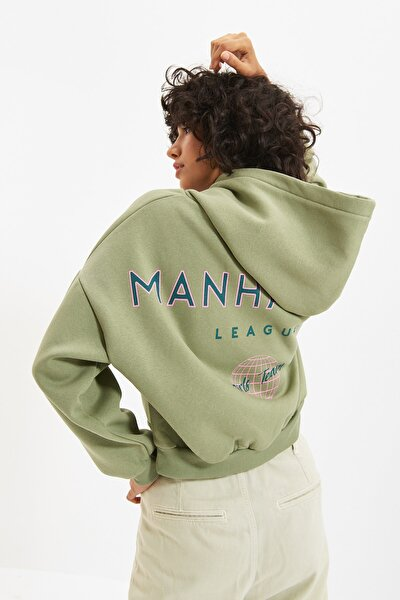 Mint Sırt Baskı Detaylı Kapüşonlu Örme İnce Sweatshirt TWOAW22SW0711