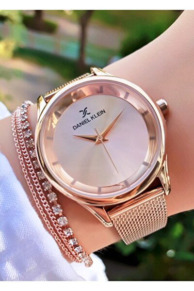 Marka Hasır Kordon Rose Kadın Saat Bileklik Hediyeli