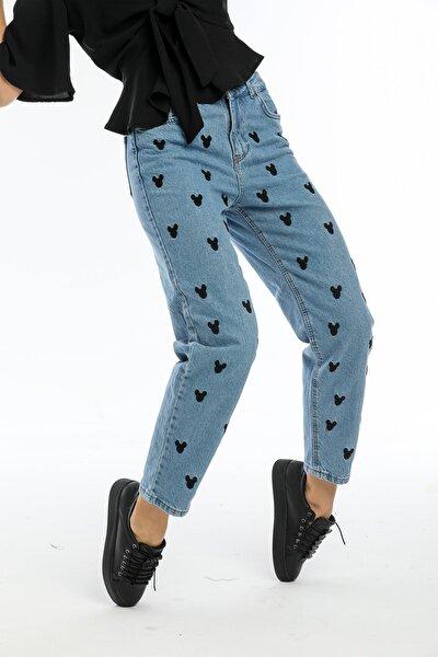 Kadın Mavi Nakışlı Jeans Kot Pantolon