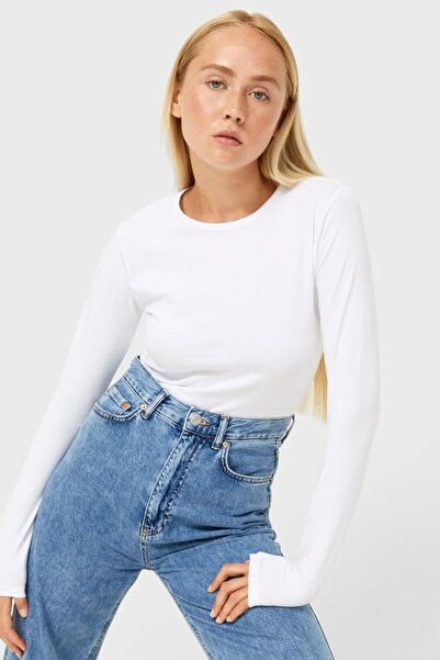 Uzun Kollu Crop T-shirt