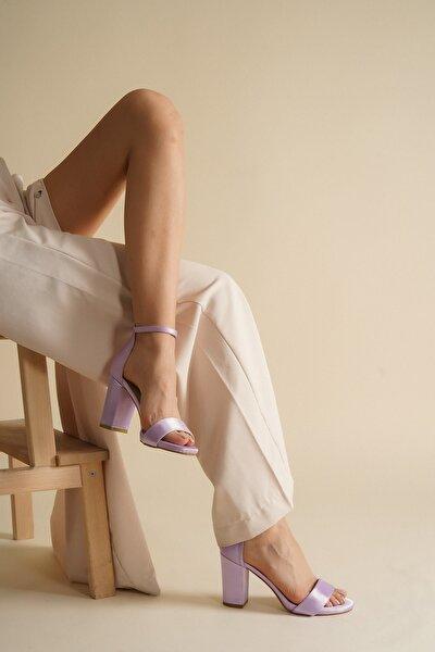 Kadın Lila Saten Günlük Tek Bant Topuklu Ayakkabı