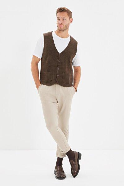 Bej Erkek Beli Lastikli Slim Fit Pantolon TMNAW21PL0107