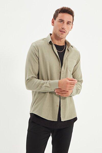 Haki Erkek Slim Fit Düğmeli Yaka Gömlek TMNSS20GO0605