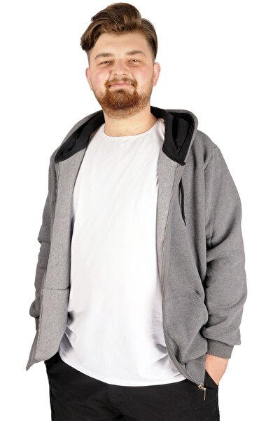 Büyük Beden Erkek Sweatshirt Zippered Recycle B20533 Füme