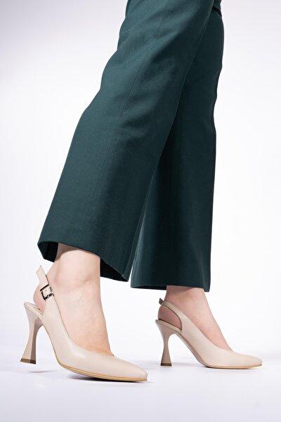 Hakiki Deri Kadın Sivri Burun Kadeh Topuklu Ayakkabı