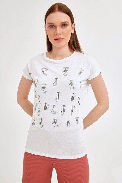 Kadın Beyaz Simli Kedi Baskılı Tshirt