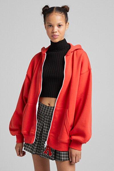 Fermuarlı Oversize Kapüşonlu Sweatshirt