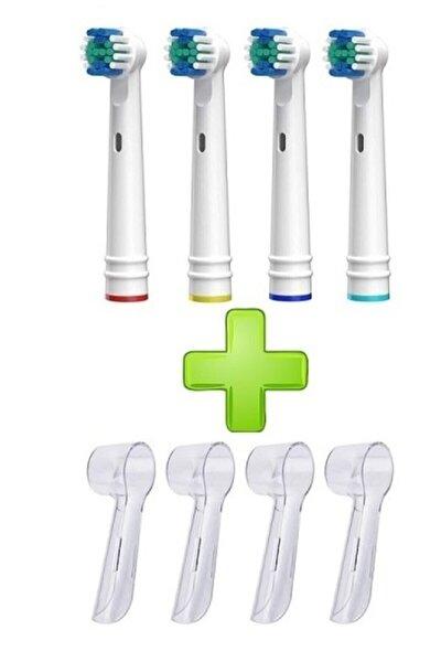 Oral B Diş Fırçasına Uyumlu 4lu Yedek Başlık Ve 4 Adet Koruyucu Başlık